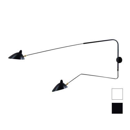 Candeeiros | Candeeiro de Parede | Iluminação | Com Braço e 2 Lâmpadas | Preto | IP-CND-3 | Iluti