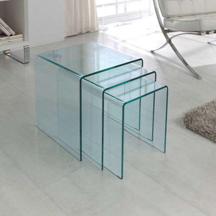 Mesas de Apoio | Conjunto de Três | Sala de Estar | Vidro Transparente | E.MSA-2