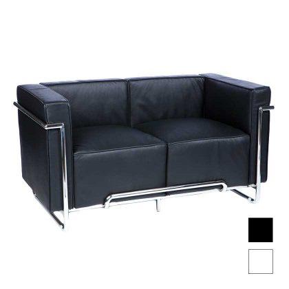 Sofá 2 Lugares | Sofás Modernos | Retro Luxo | Preto | Canto | E.SFA-32