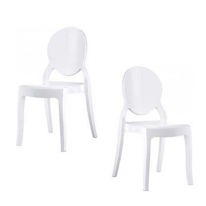 Cadeira De Jantar | Design Elegante | Conjunto de 2 Brancas | J.CDA-29