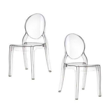 Cadeira De Jantar | Design Elegante | Conjunto de 2 Transparentes | J.CDA-30