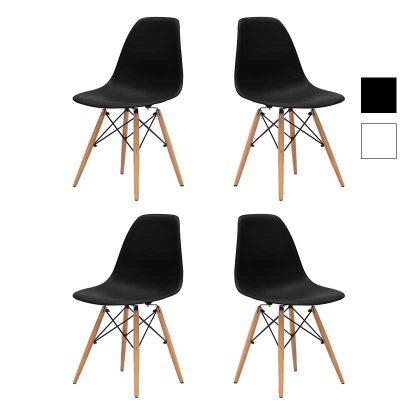 Cadeiras Para Sala De Jantar | Clássico Design | Conjunto 4 | Pretas | J.CDA-34P