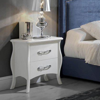 Mesa de Cabeceira Branca | Design Elegante | Quarto | Q.MSA-6