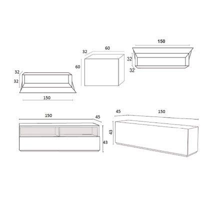 Móvel TV | Composição Modular | Medidas | E.CMO-25